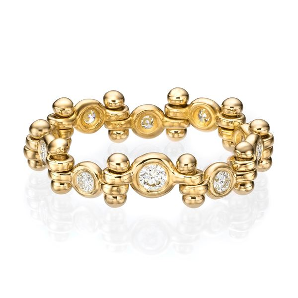 Picture of Flexible 18K Gold Diamonds Line Ring