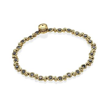 18K Yellow Gold Black Diamond Hanged Bracelet with Unique Diamond Lock