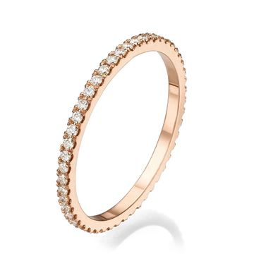 18k Rose Gold Ring with Diamonds All Around