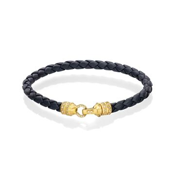 Blue Leather Bracelet with 18K Yellow Gold Lock  Set with Light Brown Diamonds