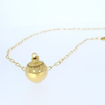 Изображение 18k yellow gold Recktangles chain necklace with ball elementdecorated with ring of diamonds design