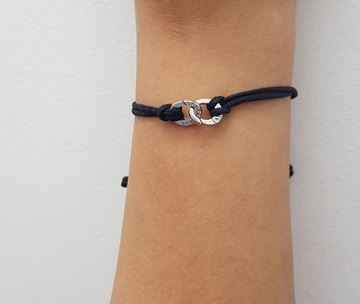 Изображение Black Cotton Bracelet 18k white gold