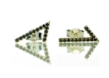 Изображение V  Earrings 14k White Gold and Black Diamonds