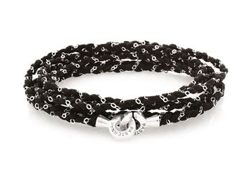 Picture of Black Cotton Bracelet combined with Silver