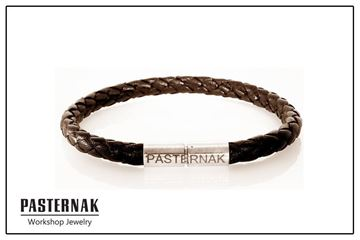Picture of Brown Braided Leather Silver Bracelet