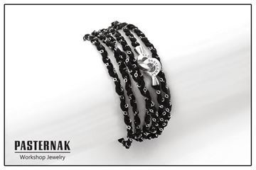 Изображение Black Cotton Bracelet combined with Silver