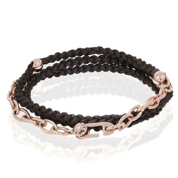 Изображение 18K Rose Gold Chain with cotton Bracelet